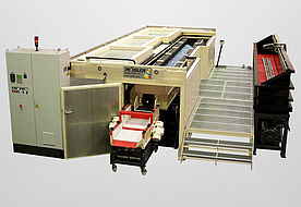 Special trough with lateral emptying and undersize particle filtering, part cleaning station