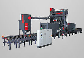 Roller conveyor blast machine for weldments