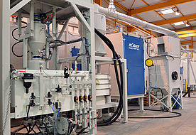 Blasting system of vertical continuous flow installation ATH 6000 R2 P