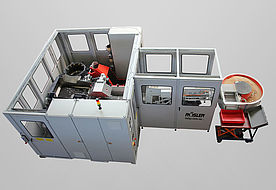 3 charge system with automatic part feed, separation, vibratory spray system and round dryer